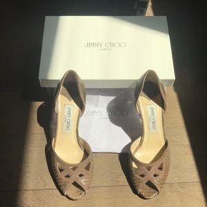 Vintage Jimmy Choo Brown Snakeskin Leather Heels